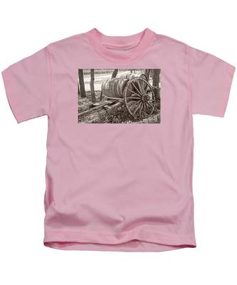 Wooden Wine Barrels On Cart Kids T-Shirt
