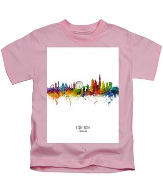 London Skyline Pink Kids T-Shirt