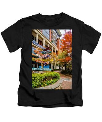 Charlotte City Skyline Autumn Season Kids T-Shirt