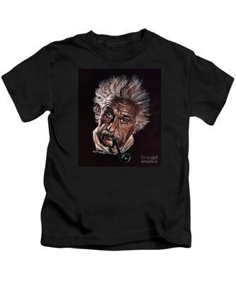 Albert Einstein Portrait Kids T-Shirt