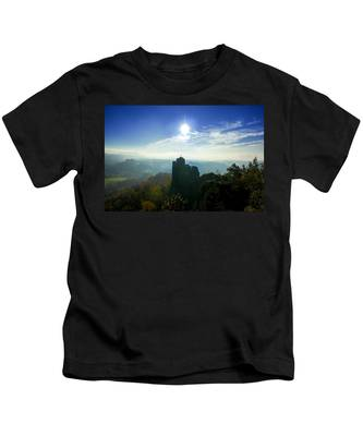 Autumn Sunrise In The Elbe Sandstone Mountains Kids T-Shirt