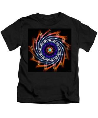 Kids T-Shirt featuring the digital art Celtic Tarot Moon Cycle Zodiac by Derek Gedney
