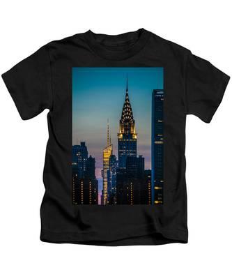Chrysler Building At Sunset Kids T-Shirt