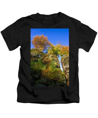 Colorful Trees In The Elbe Sandstone Mountains Kids T-Shirt