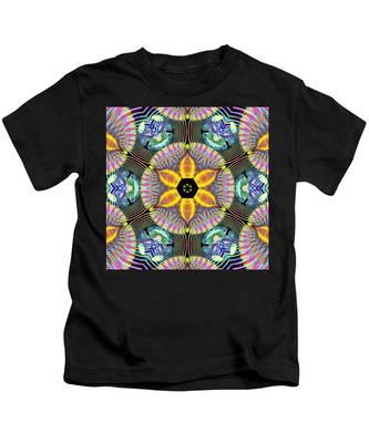 Kids T-Shirt featuring the digital art Cosmic Spiral Kaleidoscope 13 by Derek Gedney