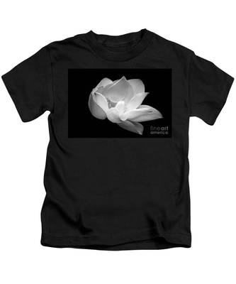 Indian Sacred Lotus In Black And White Kids T-Shirt