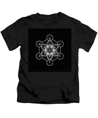 Kids T-Shirt featuring the digital art Metatron Wheel Cube by Derek Gedney