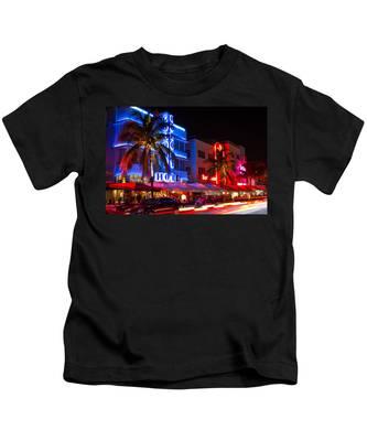 Miami Beach Ocean Drive Kids T-Shirt