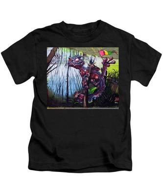 Monster With Flag Kids T-Shirt