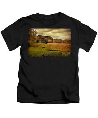 Old Barn In October Kids T-Shirt