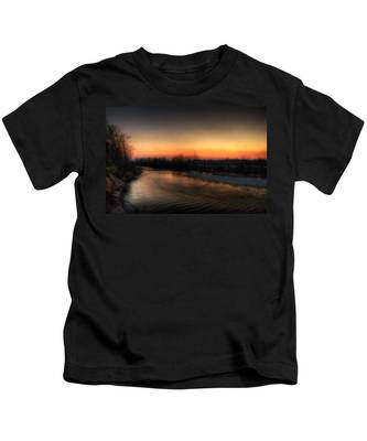 Riverscape At Sunset Kids T-Shirt