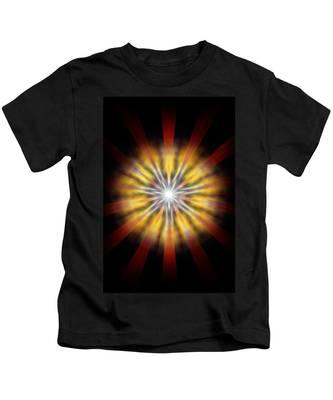 Kids T-Shirt featuring the drawing Seven Sistars Of Light by Derek Gedney