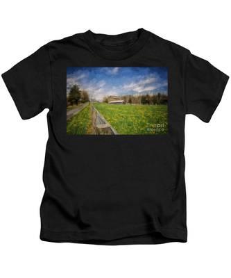 Stone Barn On A Spring Morning Kids T-Shirt