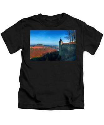 The Lilienstein Behind The Fortress Koenigstein Kids T-Shirt