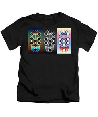 Kids T-Shirt featuring the digital art Tri-kabalah Chart by Derek Gedney