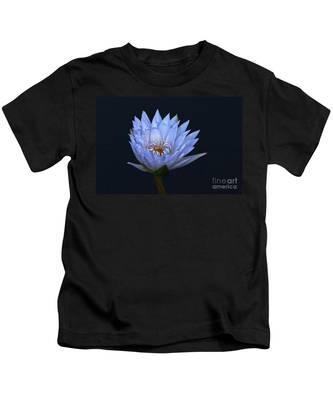 Water Lily Shades Of Blue And Lavender Kids T-Shirt