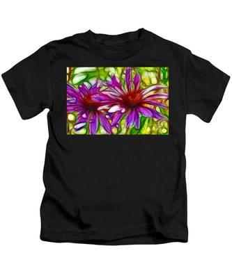 Two Purple Daisy's Fractal Kids T-Shirt