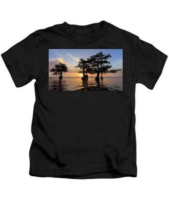 Blue Cypress Lake Morning Kids T-Shirt
