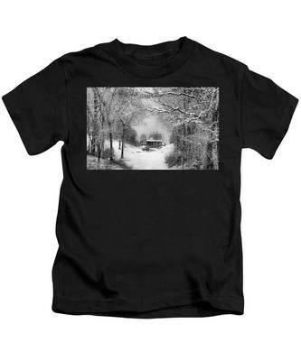 A Winter's Tale In Centerport New York Kids T-Shirt