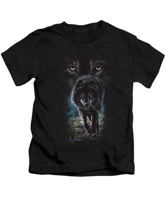 Black Wolf Hunting Kids T-Shirt