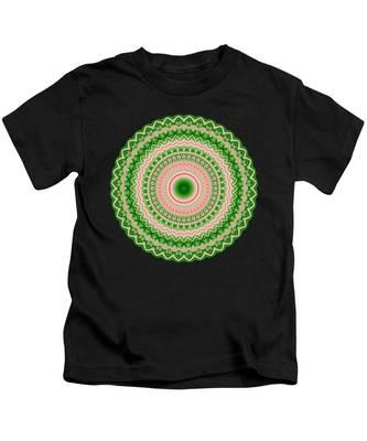 Pink And Green Mandala Fractal 002 Kids T-Shirt