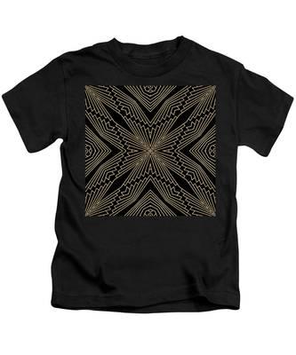 Black And Gold Art Deco Filigree 003 Kids T-Shirt