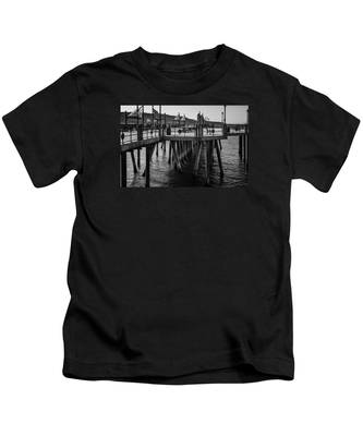 Black And White On The Pier Kids T-Shirt