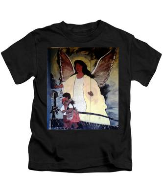 Black Guardian Angel Mural Kids T-Shirt