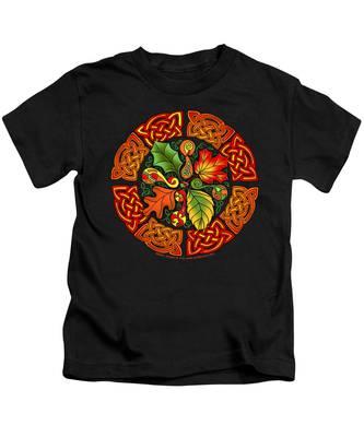 Celtic Autumn Leaves Kids T-Shirt