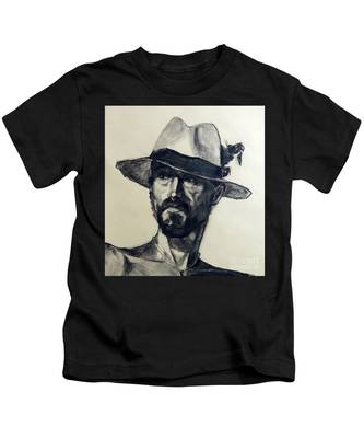 Charcoal Portrait Of A Man Wearing A Summer Hat Kids T-Shirt