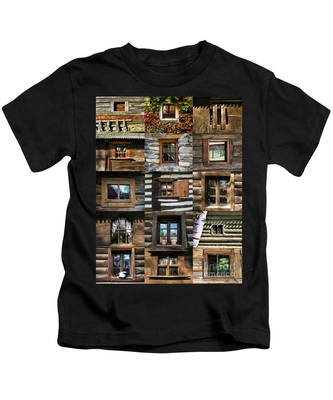 Collage From Handmade Traditional Wooden  Windows In Village Museum Bucharest Kids T-Shirt