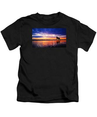 Dog Chasing Stick At Sunrise Kids T-Shirt