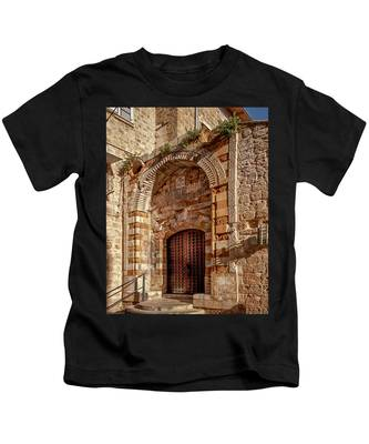 Kids T-Shirt featuring the photograph Doorway In Akko by Endre Balogh