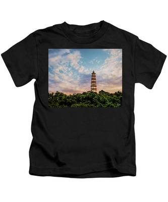 Kids T-Shirt featuring the photograph Far Distant Pagoda by Endre Balogh