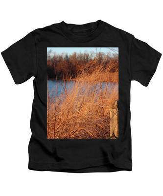 Amber Brush On The River Kids T-Shirt
