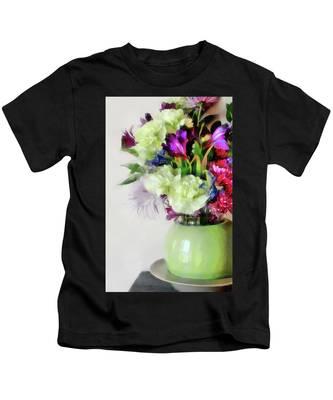 Floral Bouquet In Green Kids T-Shirt