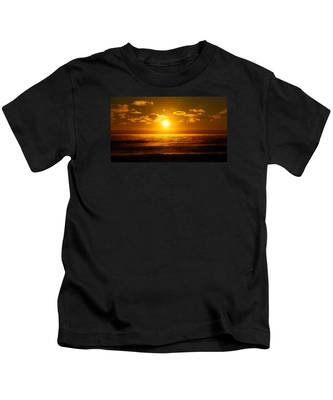 Foggy Gold Sunrise Kids T-Shirt