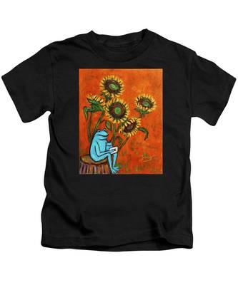 Frog I Padding Amongst Sunflowers Kids T-Shirt