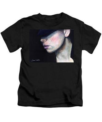 Girl In Black Hat Kids T-Shirt