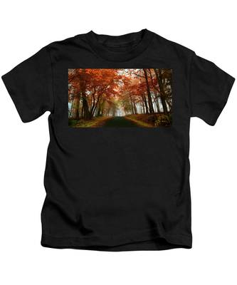 Inner Line Road At Valley Forge Kids T-Shirt