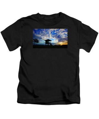 Lifeguard Station Sunrise Kids T-Shirt