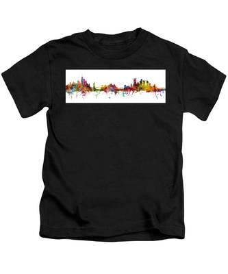 New York And Pittsburgh Skyline Mashup Kids T-Shirt