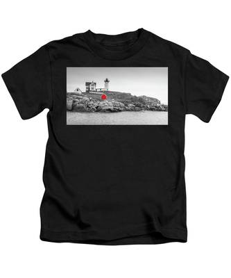Nubble Lighthouse In Color And Black And White Kids T-Shirt