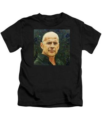 Portrait Of Bruce Willis Kids T-Shirt