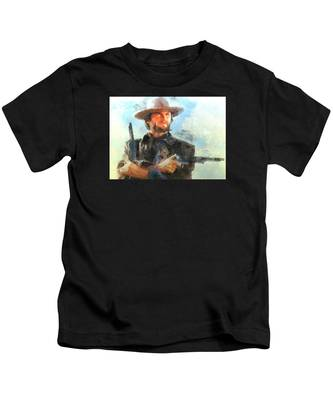 Portrait Of Clint Eastwood Kids T-Shirt
