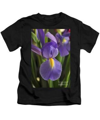Purple Iris Kids T-Shirt by Bridgette Gomes