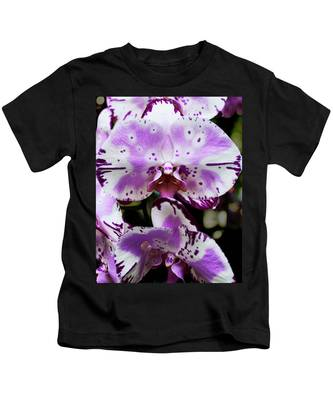 Purple And White Orchid Kids T-Shirt