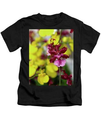 Maroon And Yellow Orchid Kids T-Shirt