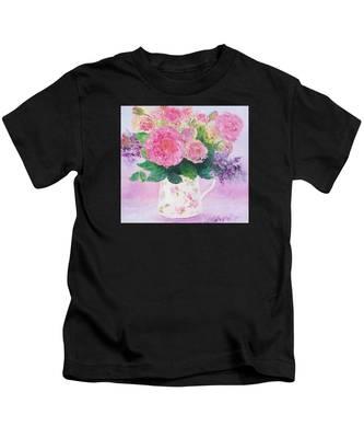 Roses In A Pink Floral Jug Kids T-Shirt