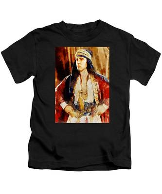 Rudolph Valentino As The Sheikh Kids T-Shirt
